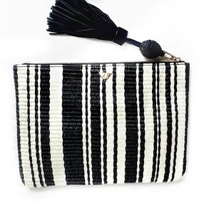 Sam Edelman black white stripe tassle clutch